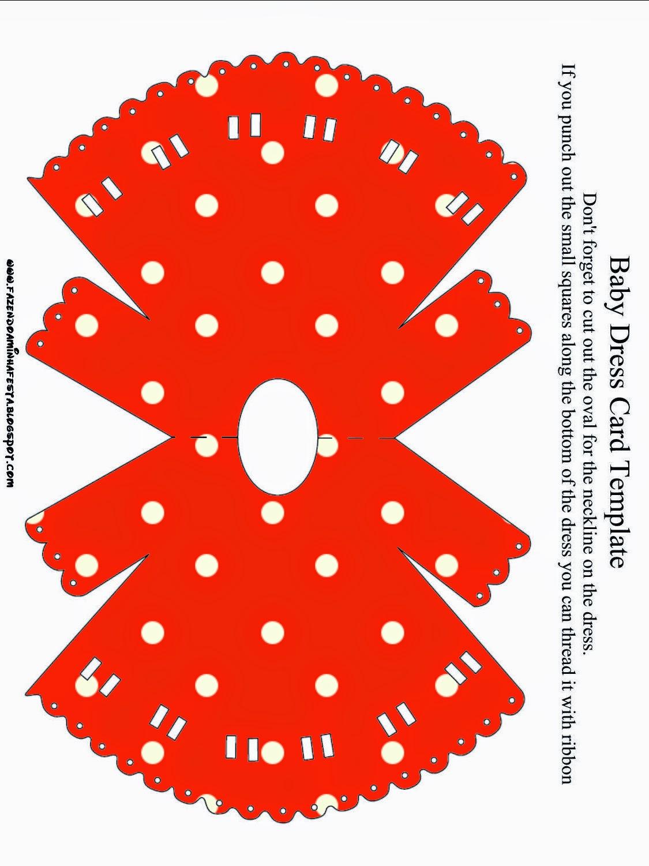 Tarjeta con forma de Camison de Bebé de Rojo, Amarillo y Lunares Blancos.
