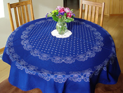 Kekfest (blue dyed fabric), round table cloth, hand printed