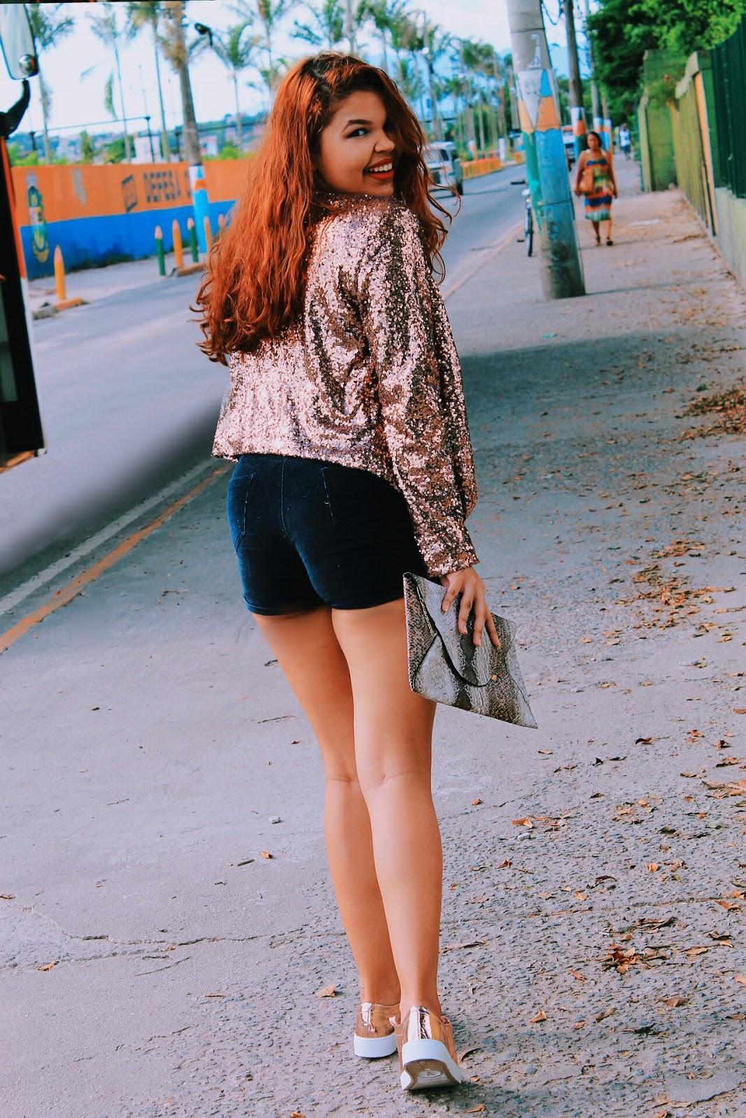 look paetês, look blazer paetê, look tênis metalizado vizzano, look ruiva, cabelo ondulado, ingrid gleize, look fashion, look da china