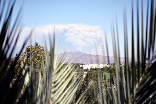 Another snapshot of the Apple Fire in Riverside County...as seen from a parking structure in Ontario, California, on August 1, 2020.