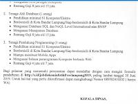Rekrutmen Tenaga IT - Dinas Kominfo Provinsi Lampung Gaji sd 7 Juta Pendaftaran Online sd 30 Juni 2019