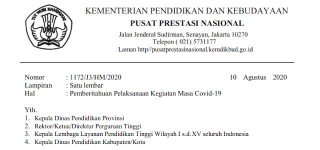 Surat Edaran Tentang Jadwal KSN KOSN dan FLS2N SD SMP SMA TAHUN 2020 tingkat Kabupaten/Kota Provinsi dan Nasional