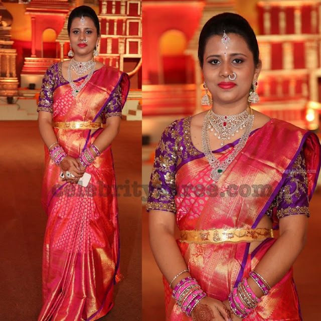 Kanjeevaram Sari Purple Work Blouse
