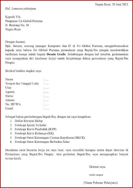 Contoh Application Letter Untuk Desain Grafis (Fresh Graduate) Berdasarkan Informasi Dari Seseorang