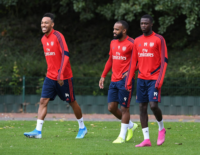 Aubameyang, Lacazette and Pepe arriving at Arsenal training