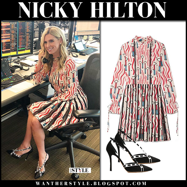 Nicky Hilton in red printed mini dress valentino and black pumps spring style may 8
