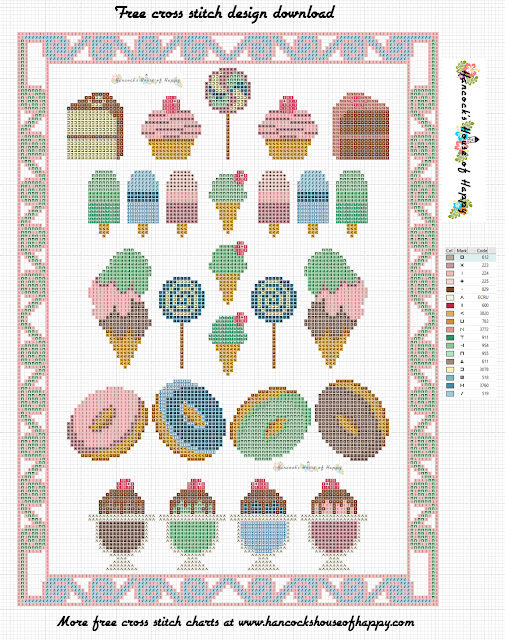 Free Cross Stitch Sampler Pattern. Candy Store Cross Stitch Design and Mini Candy Motifs.