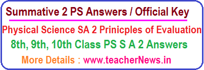 AP SA 3 PS Answers Summative 3 Physical Science Key Sheet Official Principles of Evaluation