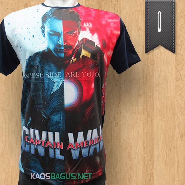 Kaos Superhero Captain America vs Iron Man