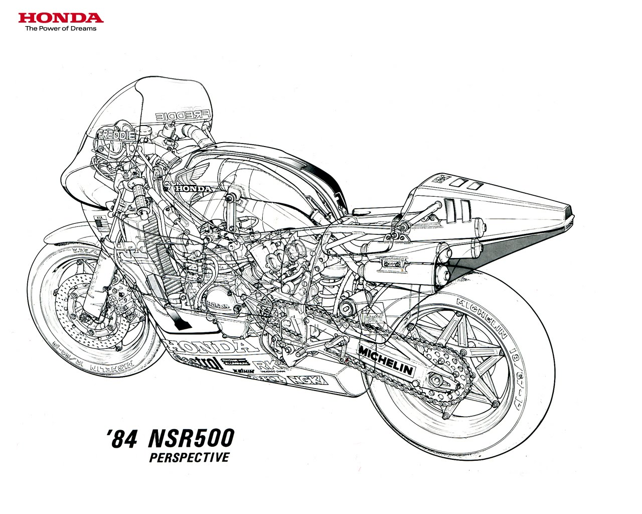 Cool Technical Illustration Of Nsr500 Two Stroke Race Bike