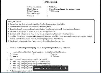 Soal PAS Pendidikan Kewarganegaraan Kelas 8 Kurikulum 2013 SMP/MTs