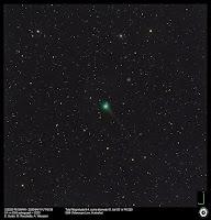 Kometa sfotografowana zdalnie 11.04.2020 r. z Australii. Astrograf 0,1 m f/6,3 + kamera CCD; eksp. 3x120 sek. Średnica komy 8', długość warkocza 25', kąt (PA) 220 st. Credit: Ernesto Guido, Marco Rocchetto, Adriano Valvasori.