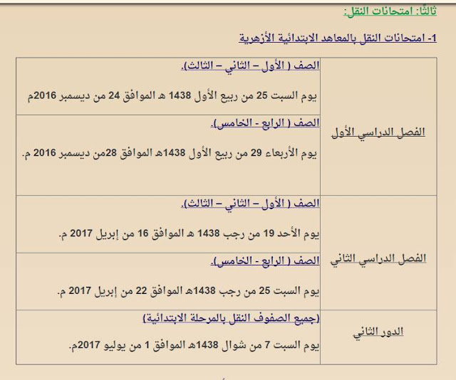 بالصور جدول مواعيد امتحانات النقل بالمعاهد الابتدائية الأزهرية 2016/2017 الترم الاول والثانى