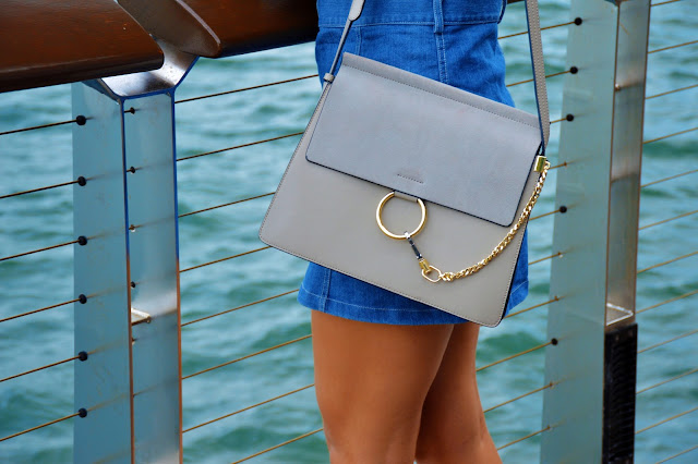 chloe faye lookalike grey with gold circle and chain