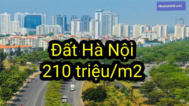 Giá đất Hà Nội tăng đỉnh điểm 210 triệu/m2