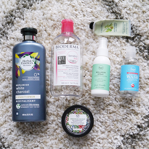 Round-up of empty beauty, skincare, hair and body care products for February 2019 featuring Herbal Essences, Bioderma, Rocky Mountain Soap Company, Body Shop, Crabtree & Evelyn