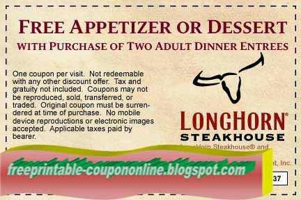 photograph regarding Longhorn Steakhouse Printable Coupons named Coupon for longhorn steakhouse on the web. latest mcdonalds