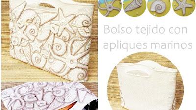 Bolso crochet apliques figuras marinas con tutoriales