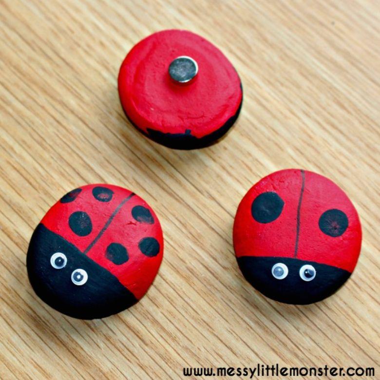 Salt dough ideas - ladybug fingerprint magnet craft