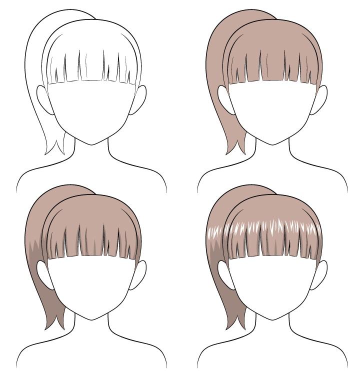 Gambar rambut kuncir kuda anime selangkah demi selangkah