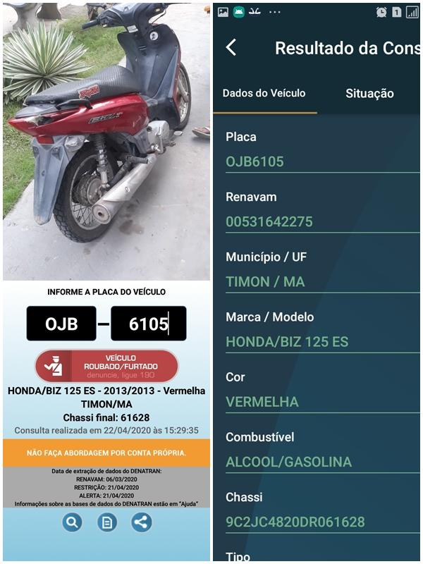 Moto roubada em Timon-MA é recuperada pelos Agentes de Transito em Chapadinha