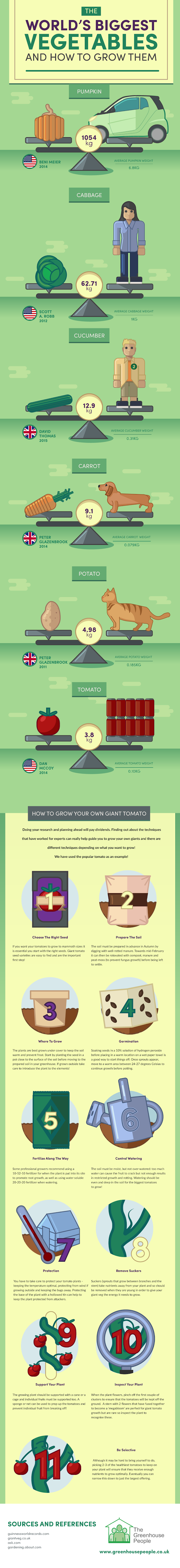 The worlds biggest vegetables And How To Grow Them #infographic #Vegetables #Food #Biggest Vegetables #World