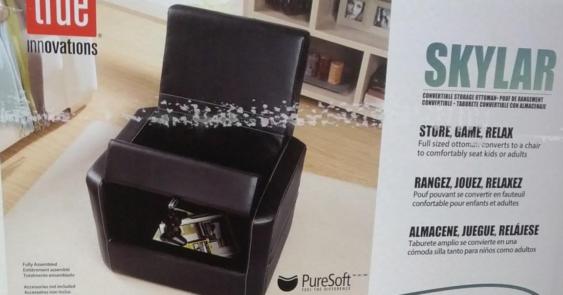 True Innovations Skylar Convertible Storage Ottoman And