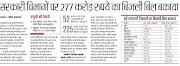 POWER : बेसिक शिक्षा विभाग समेत अन्य सरकारी विभागों पर 277 करोड़ रुपये का बिजली बिल बकाया