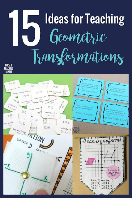 Look no further for the best activities and ideas for teaching geometric transformations! There are foldables for translations, rotations, reflections, dilations, and symmetry. The project is a great way to wrap up the unit with an activity. #mrseteachesmath #transformations #geometry