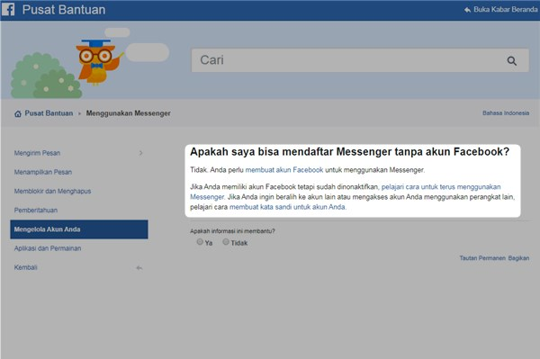 Apakah saya bisa mendaftar Messenger tanpa akun Facebook
