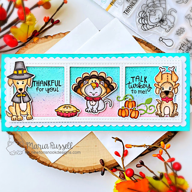 Thanksgiving card by Maria Russell | Talk Turkey Stamp Set Excludsive Collaboration Stamp Set with Simon Says Stamp by Newton's Nook Designs #newtonsnook #handmade