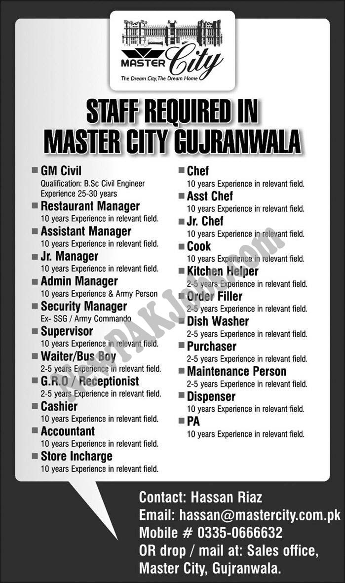 Today Latest Jobs in Master City Gujranwala Multiple Vacancies