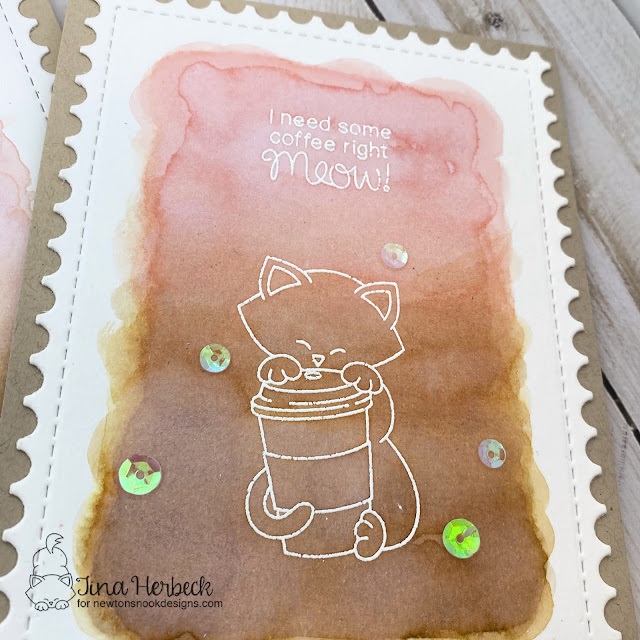 offee Card by Tina Herbeck | Newton Loves Coffee Stamp Set and Framework Die Set by Newton's Nook Designs #newtonsnook #handmade