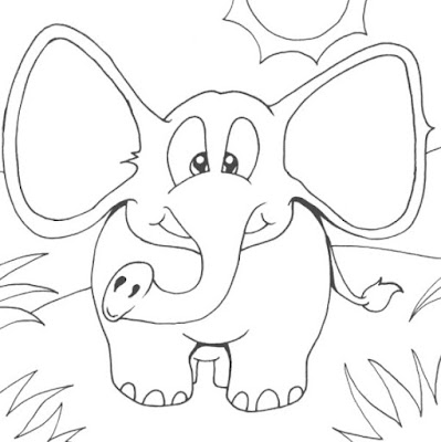 Gambar Sketsa anak Gajah