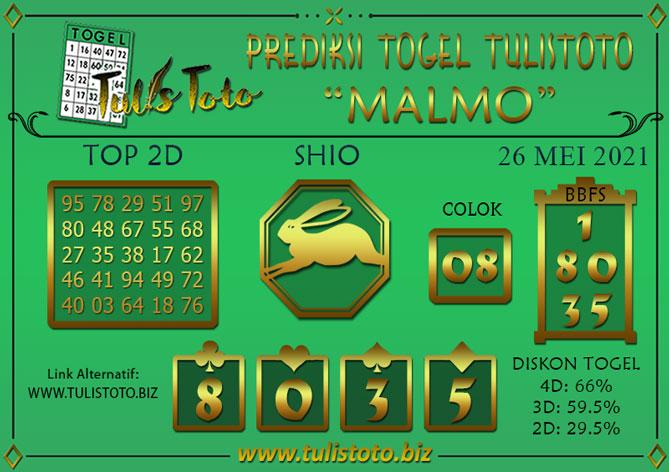 Prediksi Togel MALMO TULISTOTO 26 MEI 2021