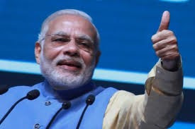 pm modi showing thumb
