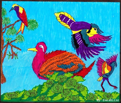 Bird, Duck, Swan, Colorful Draws - Gambar Penuh Warna