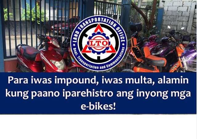 Just like any other motor vehicles plying on the roads, electronic bicycles or e-bikes needs registration too.  This is the reminder of Land Transportation Office (LTO) to all owners of e-bikes who believes that it does not need registration.  LTO added, e-bikes drivers should have a driver's license before driving the said motor vehicle.