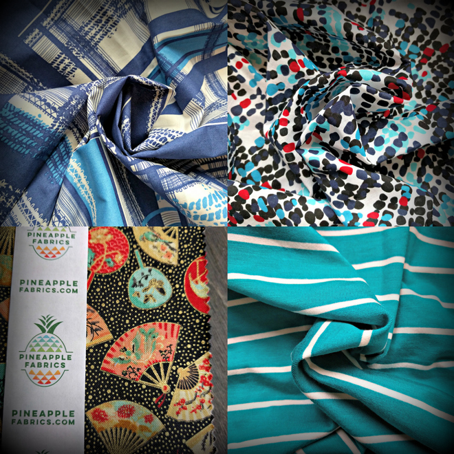 Collage of my mini fabric haul from the Sewing and Quilt Expo.