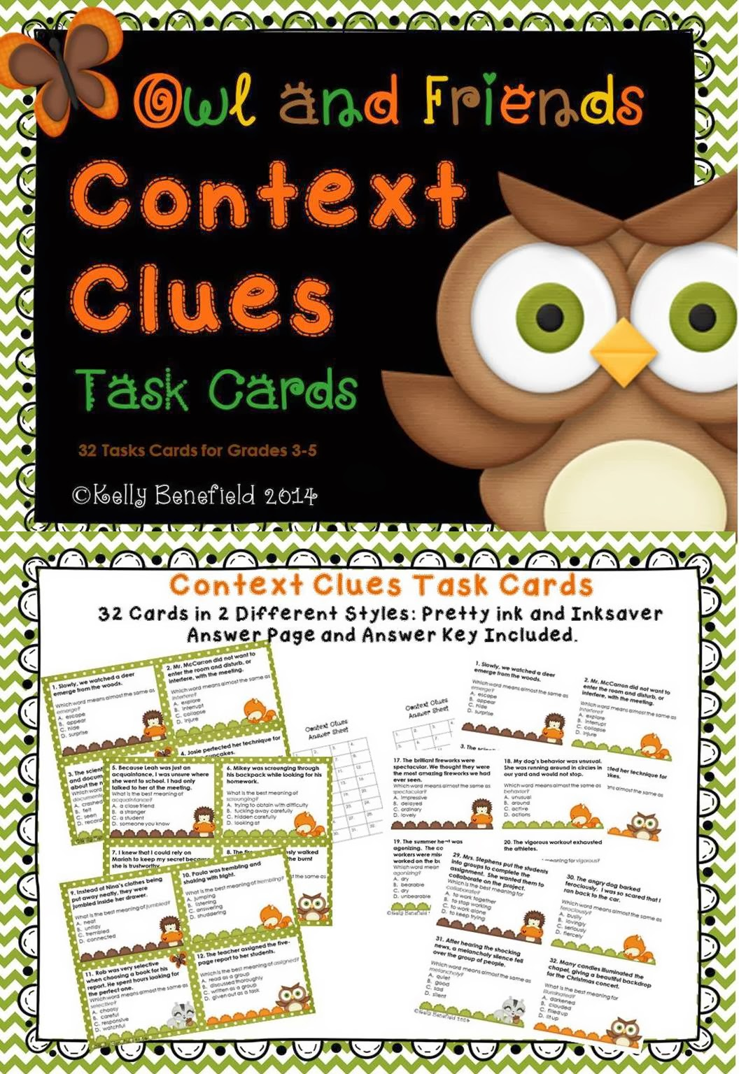 http://www.teacherspayteachers.com/Product/Context-Clues-Task-Cards-1069565