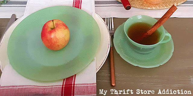 fall tablescape using jadeite