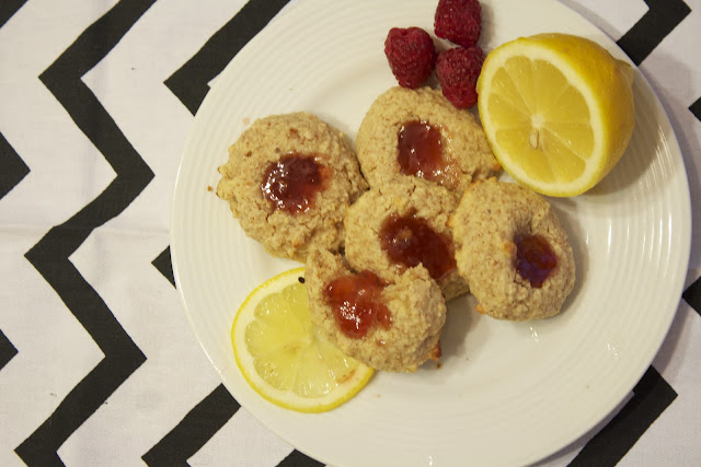 greek yogurt lemon cookies raspberry jam recipe frugal fitness blog