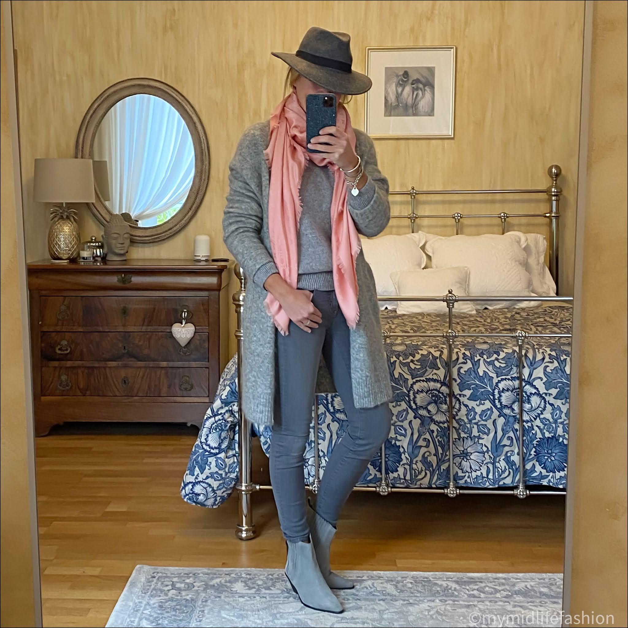 my midlife fashion, acne studios raya cardigan, zara felt fedora, Louis Vuitton monogrammed shawl, baukjen Shannon jumper, j crew 8 inch toothpick jeans, jigsaw western heel ankle boots