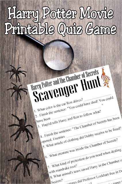 Bring some family fun to your next Harry Potter movie night with this Chamber of Secrets Movie Quiz printable game.  With ten questions about the movie, every one will enjoy watching for the answers and soling the Chamber of Secrets.