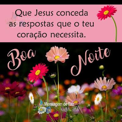 Que Jesus conceda as respostas  que o teu coração necessita. Boa Noite!