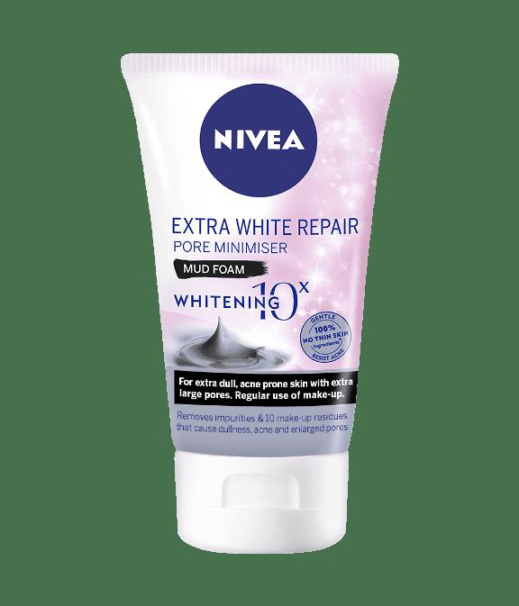 Pencuci muka nivea extra white repair pore minimiser mud foam.