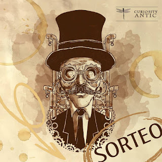 Cartel steam punk del sorteo del Salon de Anticuarios de Murcia