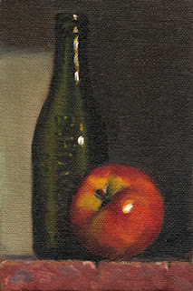 Still life oil painting of an antique green glass bottle beside a red apple.