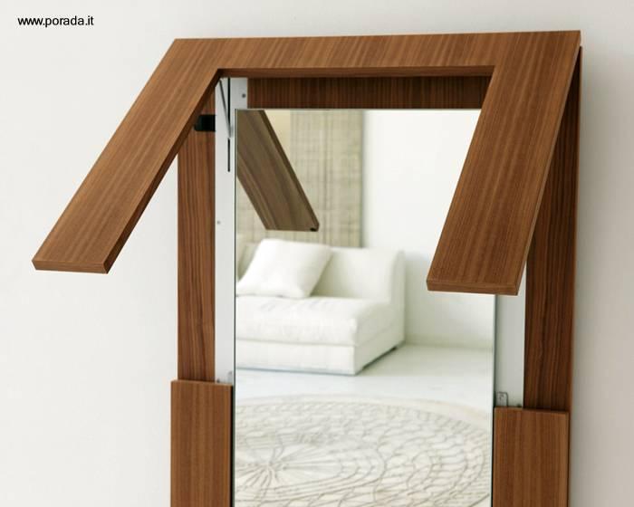 Arquitectura De Casas Mesa De Madera Plegable Y Espejo De