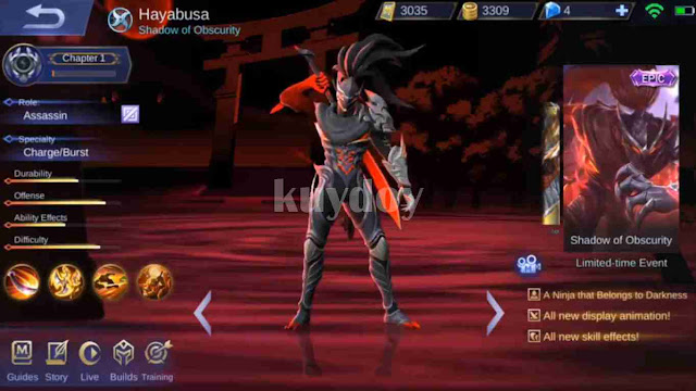 Script Skin Epic Hayabusa Mobile Legends Server Original Terbaru